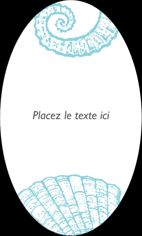 """1½"""" x 2½"""" Étiquettes ovales - Bleu plage"""