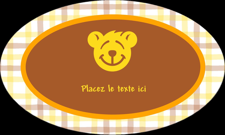 """1½"""" x 2½"""" Étiquettes ovales - Ours jaune"""
