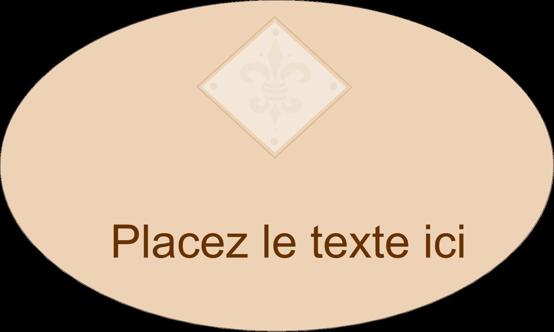 """1½"""" x 2½"""" Étiquettes ovales - Diamant beige"""