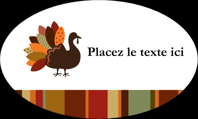 """1½"""" x 1½"""" Étiquettes carrées - Feuilles et dinde"""