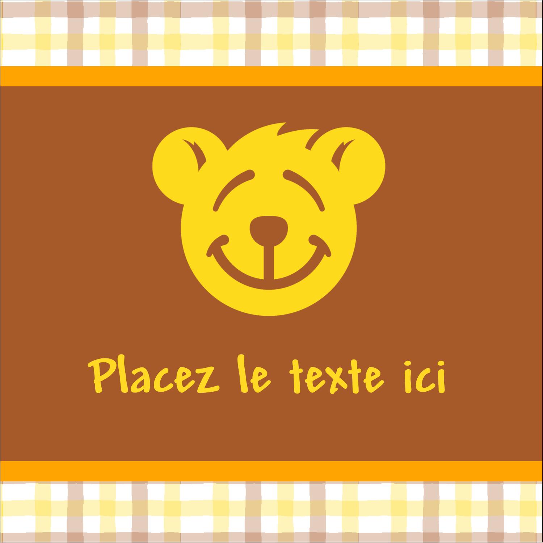 """1½"""" x 1½"""" Étiquettes carrées - Ours jaune"""