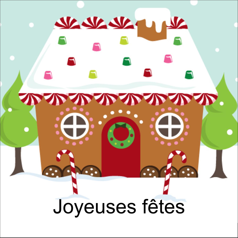 """1½"""" x 1½"""" Étiquettes carrées - Maison en pain d'épices"""