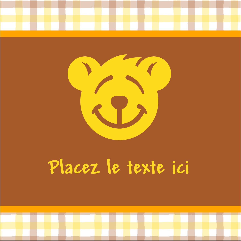 """2"""" x 2"""" Étiquettes carrées - Ours jaune"""