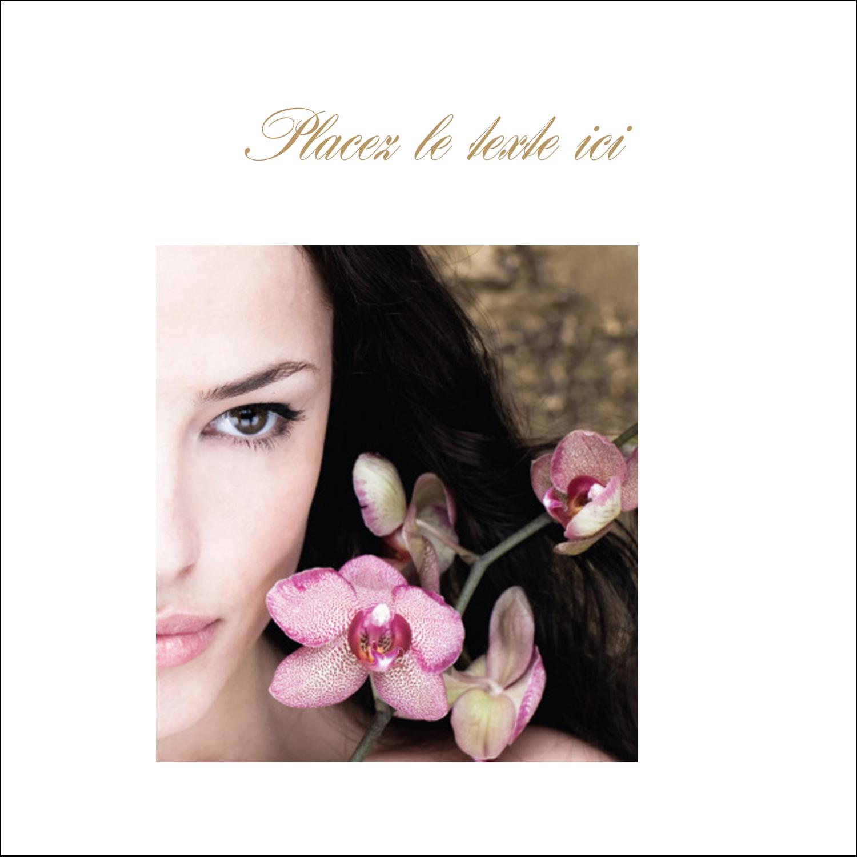 """2"""" x 2"""" Étiquettes carrées - Femme aux orchidées"""