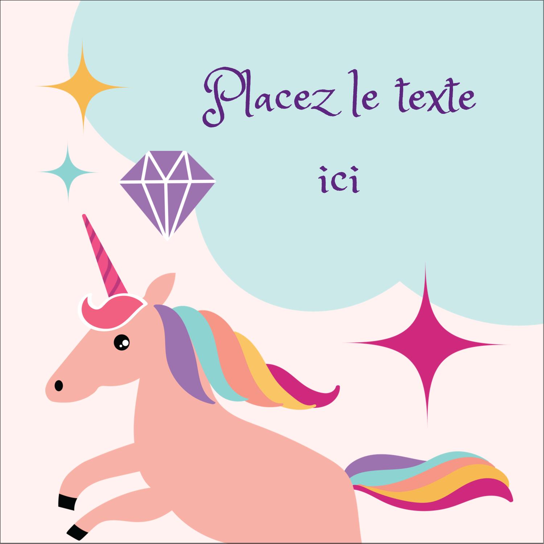 """2"""" x 2"""" Étiquettes carrées - Licorne en fête"""