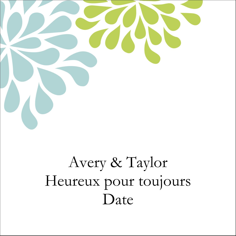 """2"""" Diameter Étiquettes rondes - Fleurs bleues et vertes"""