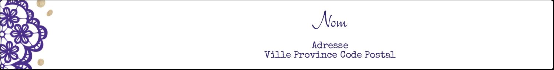 """1½"""" x 2½"""" Étiquettes ovales - Mariage en dentelle violette"""