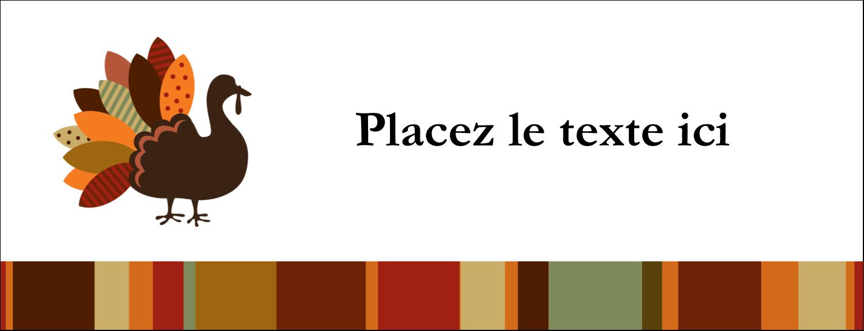 """1-7/16"""" x 3¾"""" Affichette - Feuilles et dinde"""