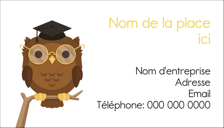 """3½"""" x 2"""" Carte d'affaire - Hibou et diplôme"""