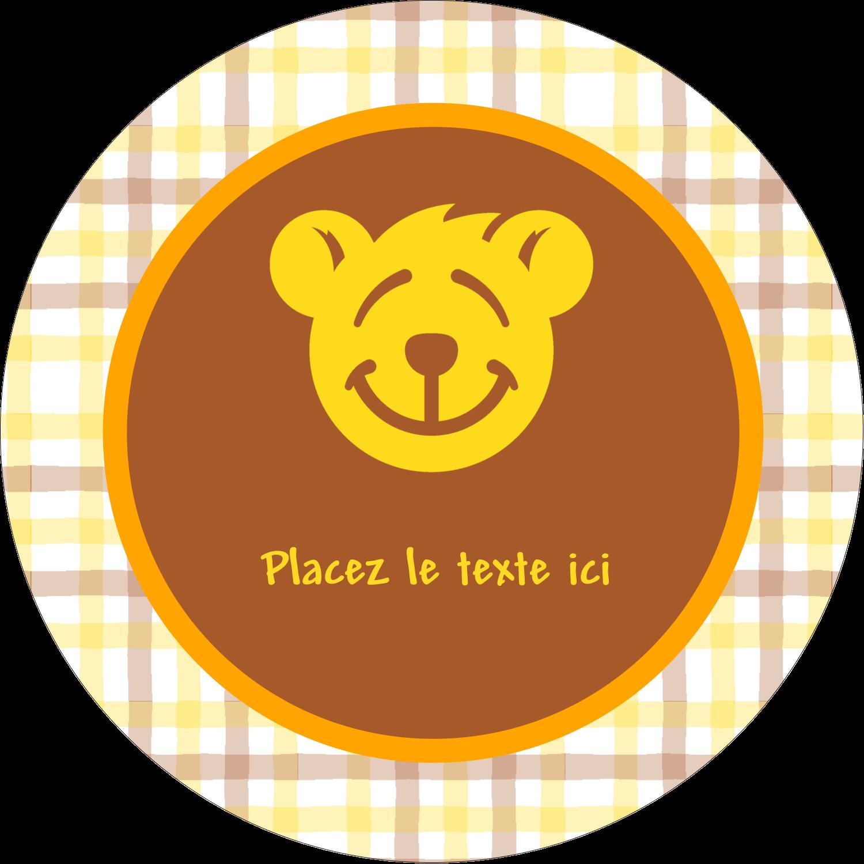 """2"""" Diameter Étiquettes rondes - Ours jaune"""