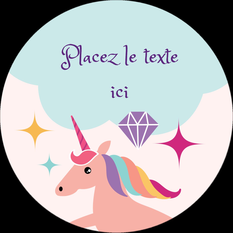 """2"""" Diameter Étiquettes rondes - Licorne en fête"""