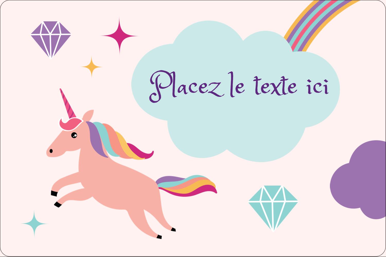 """2"""" x 3"""" Étiquettes rectangulaires - Licorne en fête"""