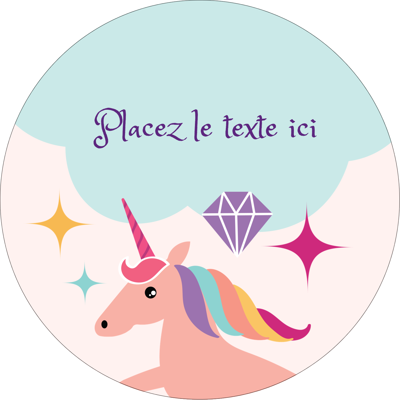 """2½"""" Diameter Étiquettes rondes - Licorne en fête"""