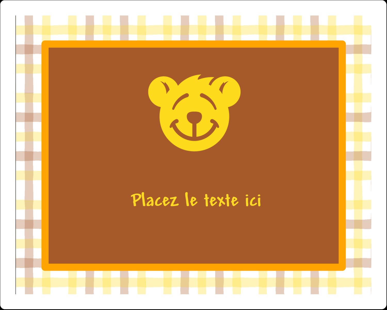 """3"""" x 3¾"""" Étiquettes rectangulaires - Ours jaune"""