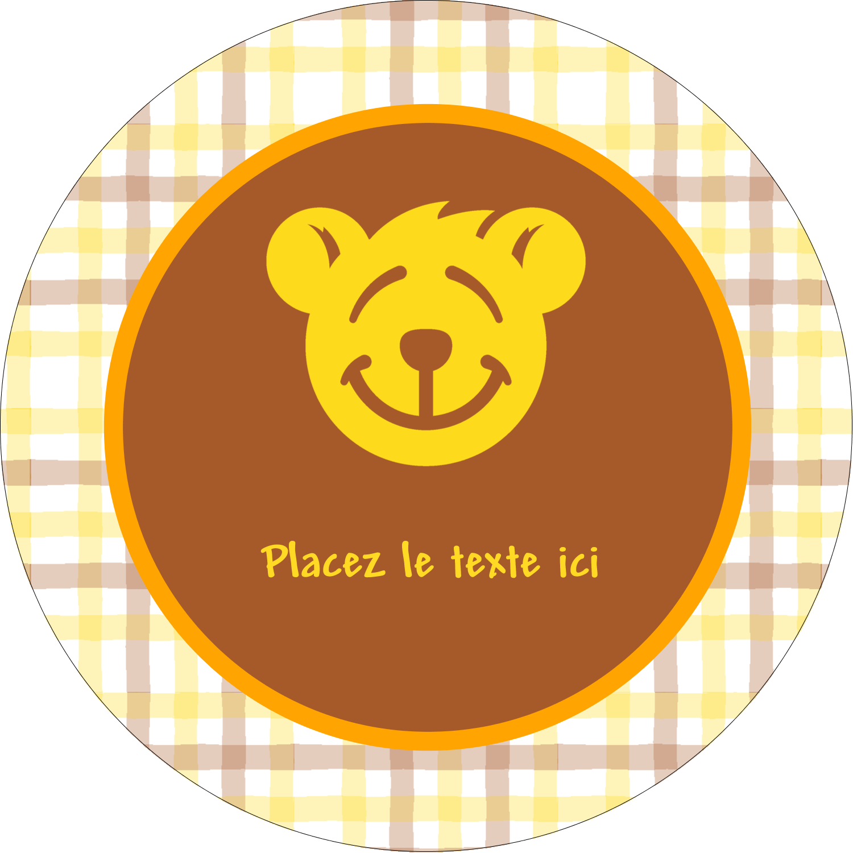 """2½"""" Diameter Étiquettes rondes - Ours jaune"""