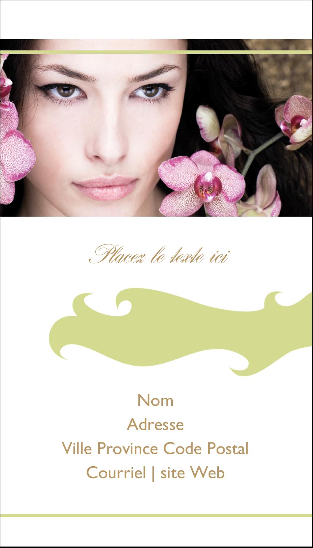 """3½"""" x 2"""" Carte d'affaire - Femme aux orchidées"""