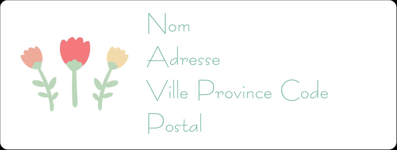 """1"""" x 4"""" Étiquettes d'adresse - Couronne florale"""