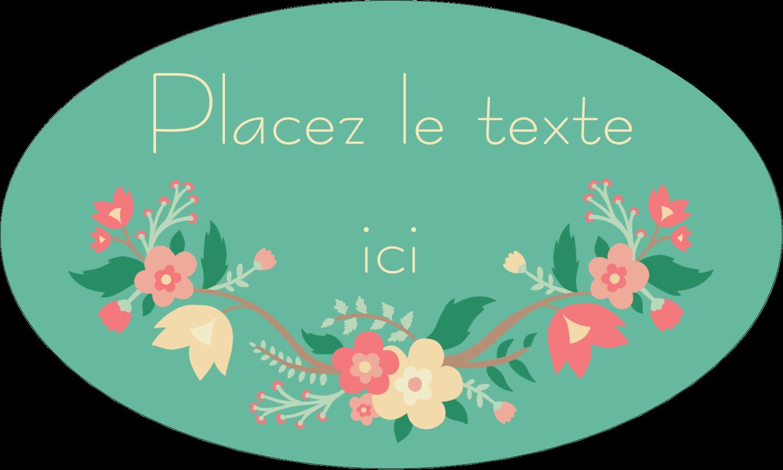 """1½"""" x 1½"""" Étiquettes carrées - Couronne florale"""