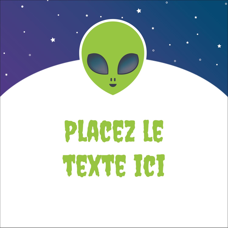 """1½"""" x 1½"""" Étiquettes carrées - Fête d'extraterrestres"""