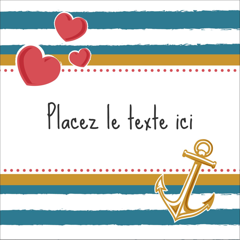 """1½"""" x 1½"""" Étiquettes carrées - Ancre de Saint-Valentin"""