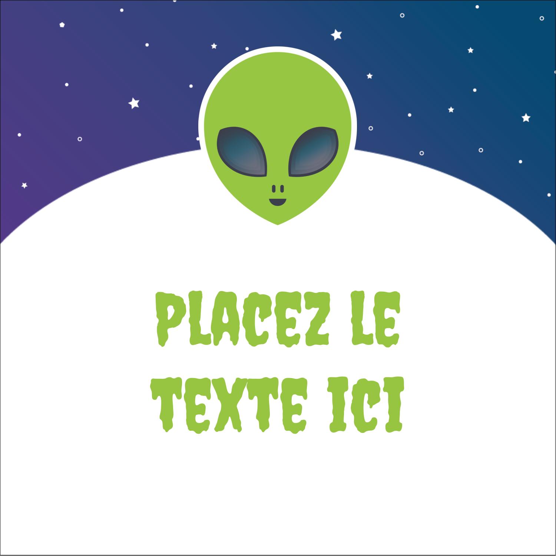 """9¾"""" x 1¼"""" Étiquettes enveloppantes - Fête d'extraterrestres"""