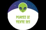 Fête d'extraterrestres Étiquettes rondes - gabarit prédéfini. <br/>Utilisez notre logiciel Avery Design & Print Online pour personnaliser facilement la conception.