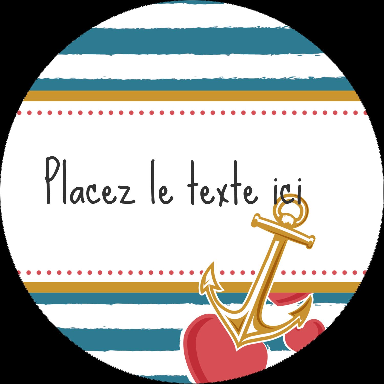 """2½"""" Diameter Étiquettes rondes - Ancre de Saint-Valentin"""