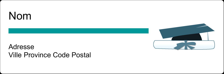 """1⅓"""" x 4"""" Étiquettes d'adresse - Remise des diplômes en bleu"""