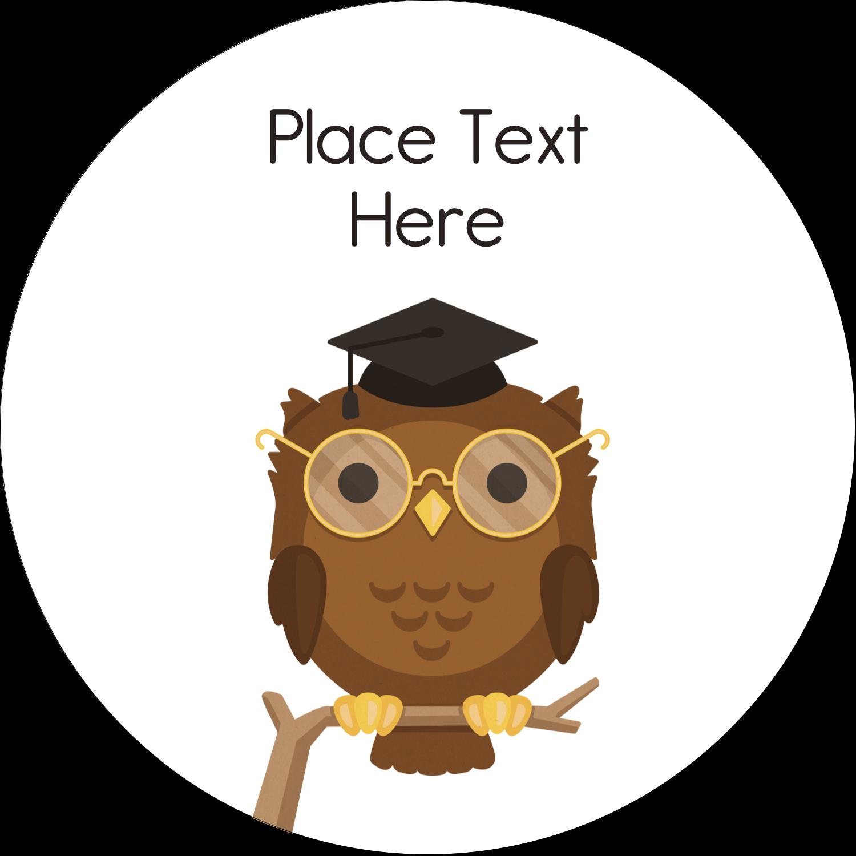 "2½"" Round Label - Academic Owl Graduation"