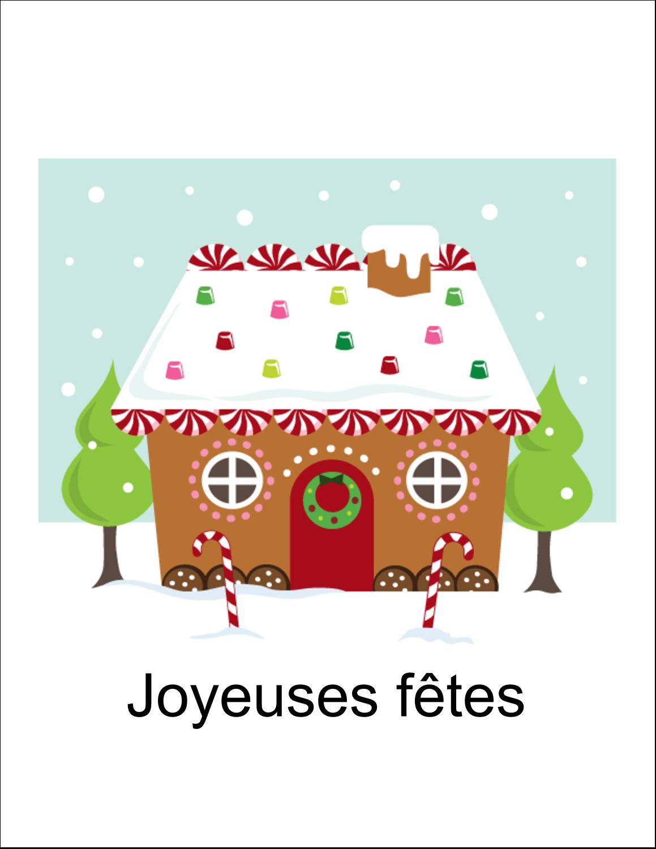 """8½"""" x 11"""" Cartes Et Articles D'Artisanat Imprimables - Maison en pain d'épices"""