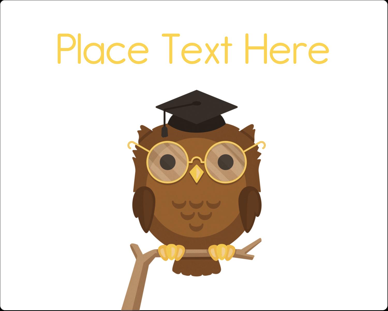 "3"" x 3¾"" Rectangular Label - Academic Owl Graduation"