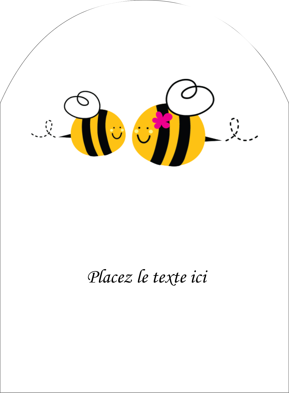 """4¾"""" x 3½"""" Étiquettes arrondies - Maman abeille"""