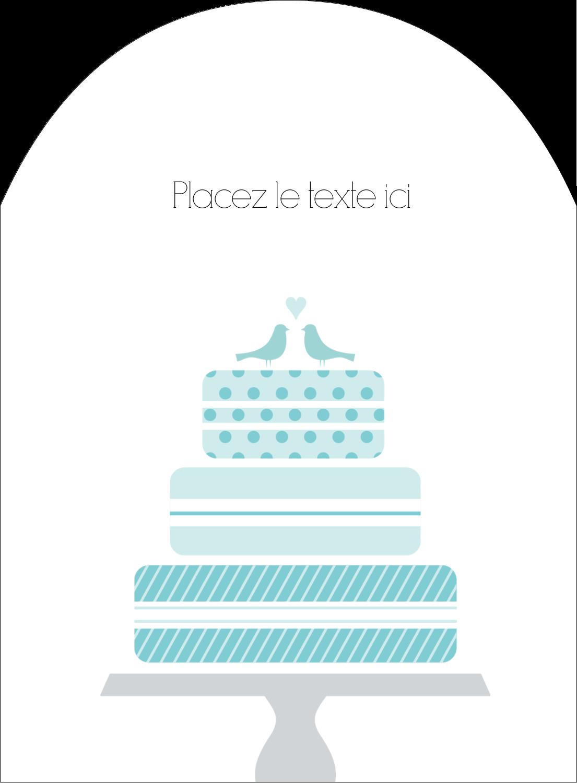 """4¾"""" x 3½"""" Étiquettes rectangulaires - Figurines d'oiseau bleu pour gâteau de noces"""