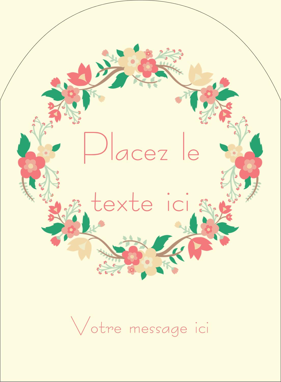 """4¾"""" x 3½"""" Étiquettes rectangulaires - Couronne florale"""