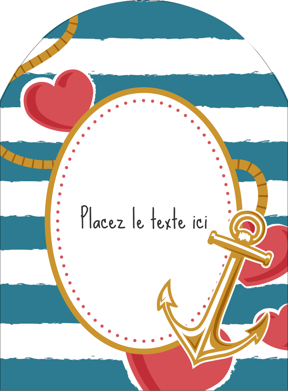 """4¾"""" x 3½"""" Étiquettes arrondies - Ancre de Saint-Valentin"""