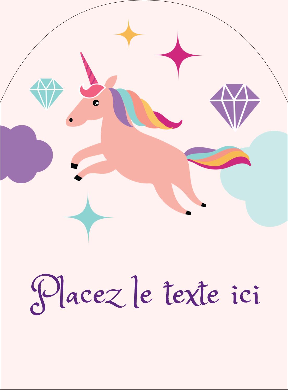 """4¾"""" x 3½"""" Étiquettes arrondies - Licorne en fête"""