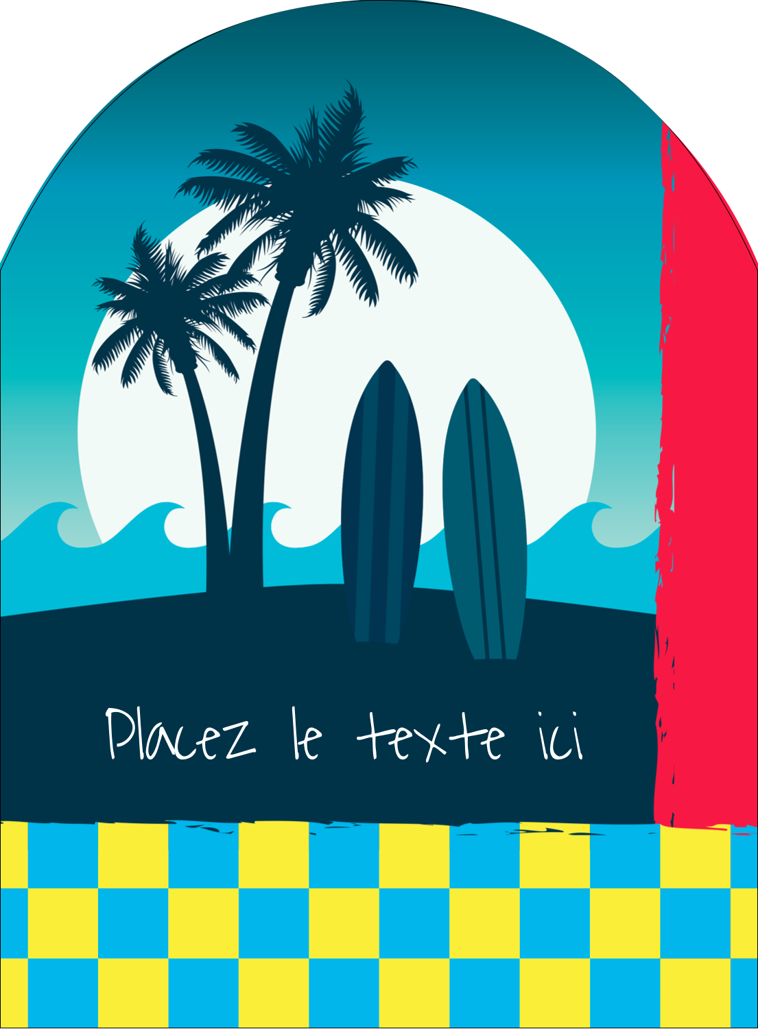 "4¾"" x 3½"" Étiquettes rectangulaires - Surf tropical"