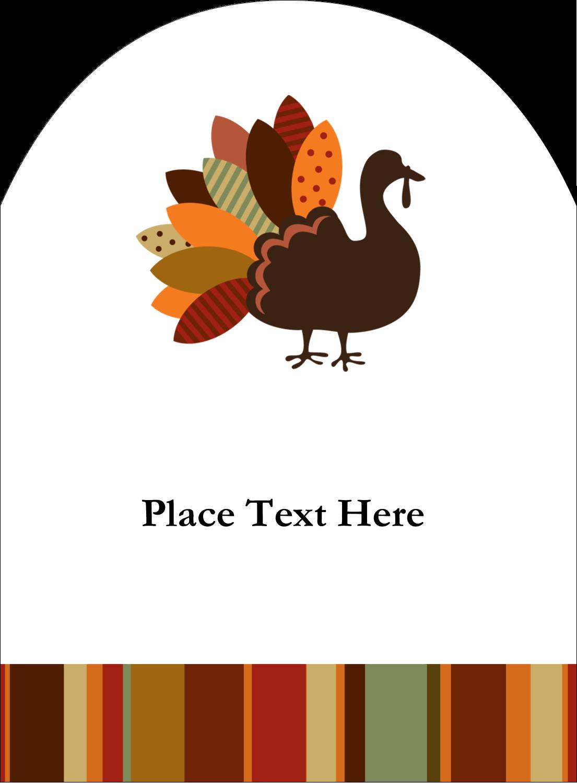 """4¾"""" x 3½"""" Arched Label - Turkey Leaf"""