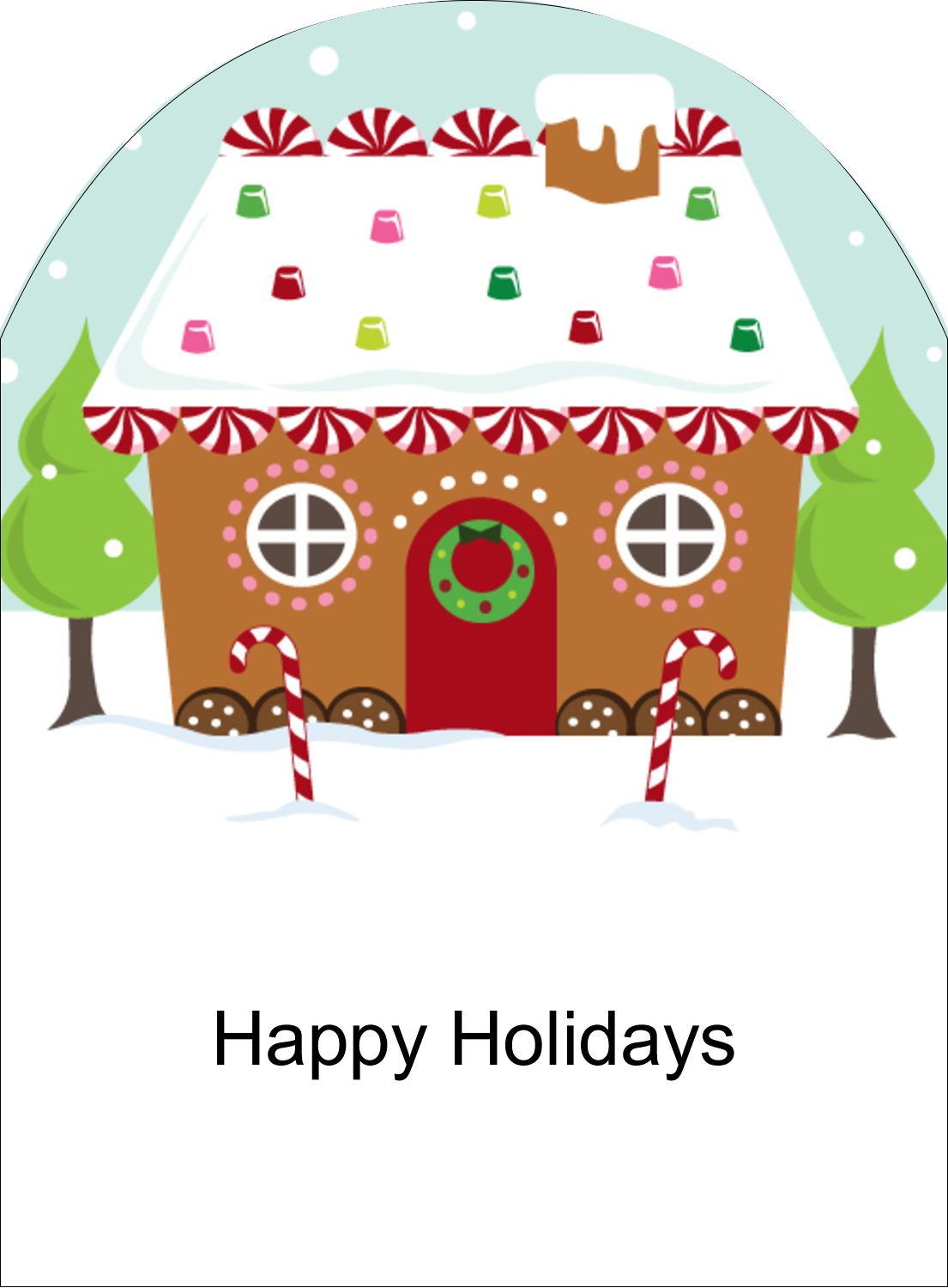 """4¾"""" x 3½"""" Arched Label - Gingerbread House"""