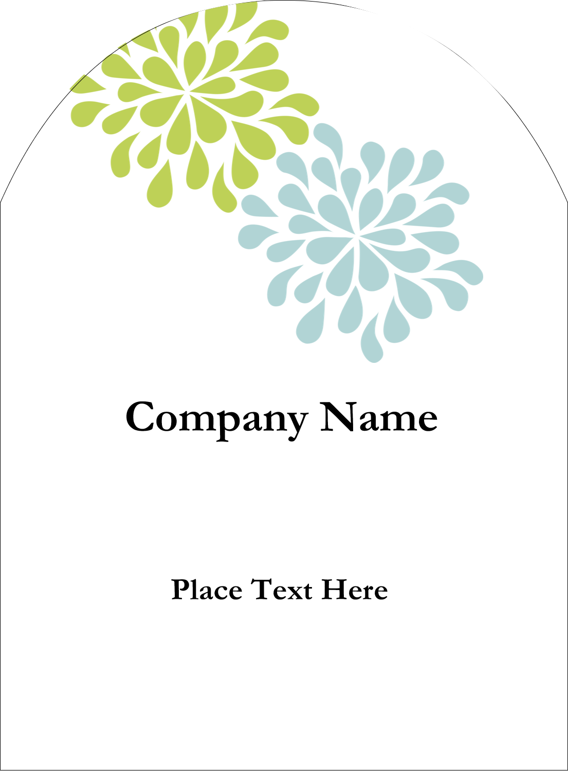 "4¾"" x 3½"" Arched Label - Blue Green Blooms"
