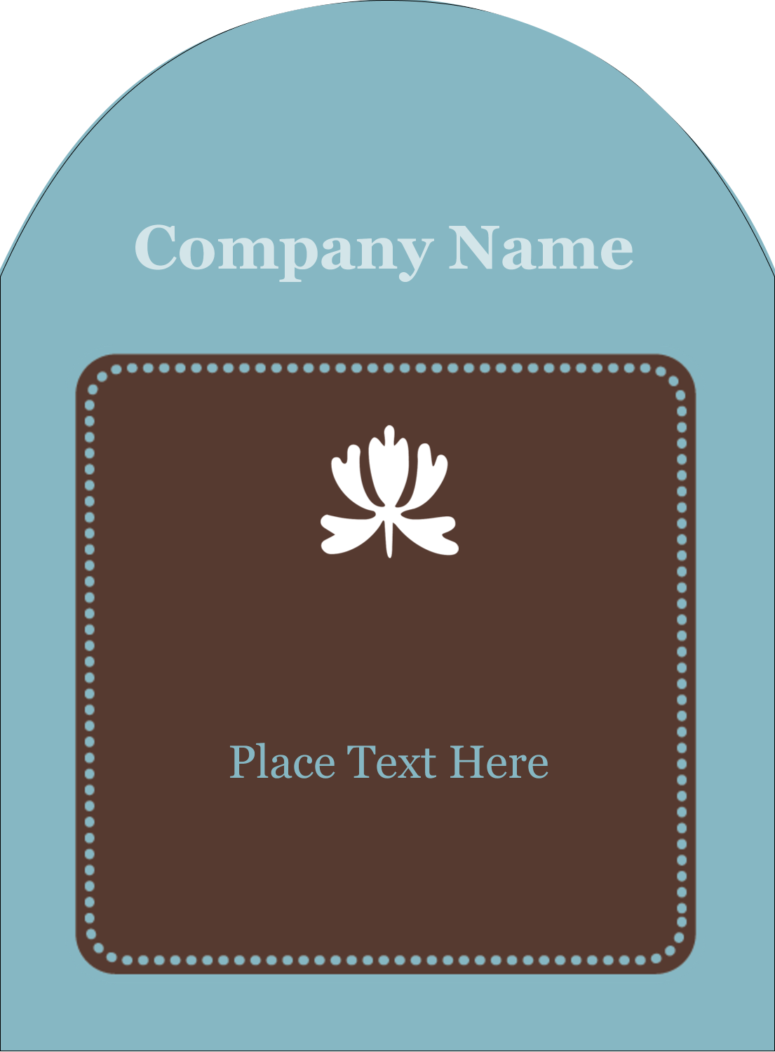 "4¾"" x 3½"" Arched Label - Blue Brown Border"