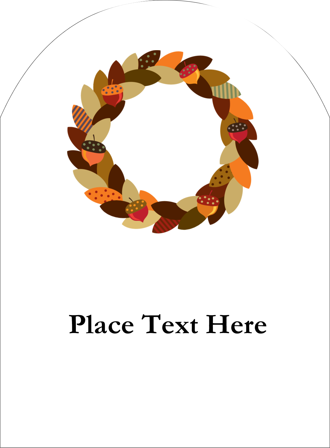 "4¾"" x 3½"" Arched Label - Acorn Wreath"