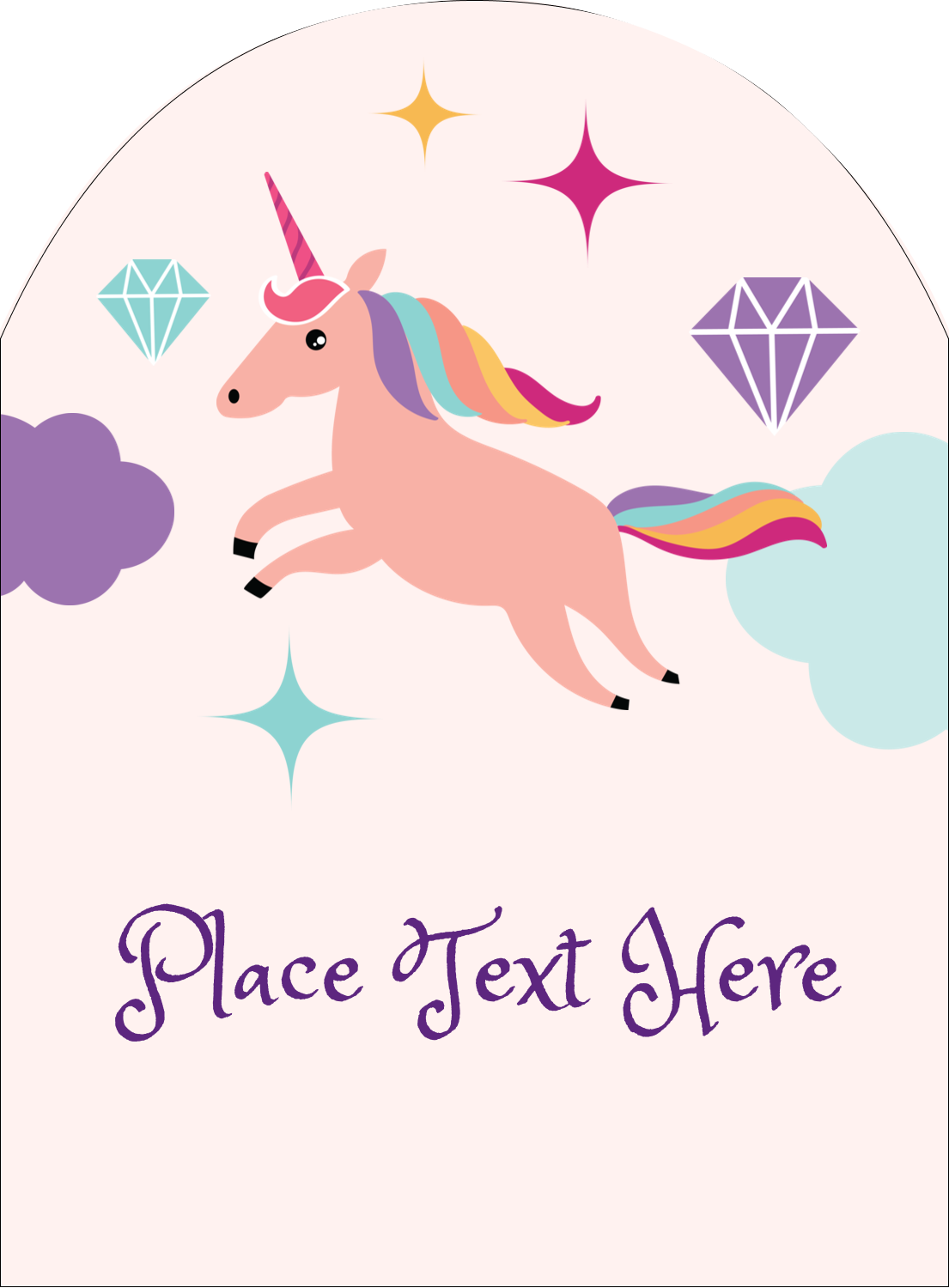 "4¾"" x 3½"" Arched Label - Unicorn Party"