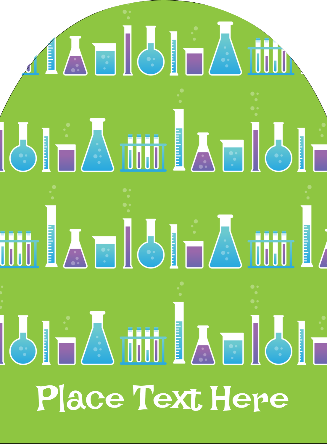 """4¾"""" x 3½"""" Arched Label - Mad Scientist Party"""