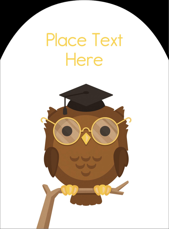 "4¾"" x 3½"" Arched Label - Academic Owl Graduation"