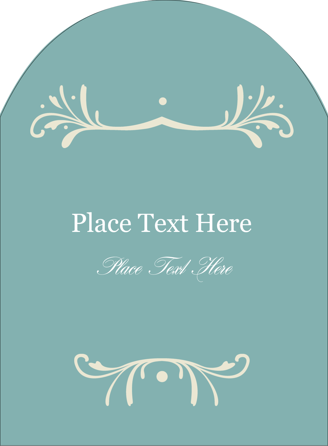 """4¾"""" x 3½"""" Arched Label - Filigree Green"""