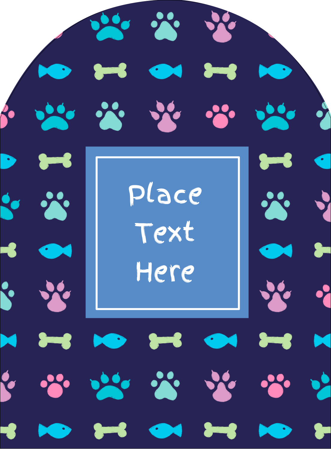 "4¾"" x 3½"" Arched Label - Furry Friends"