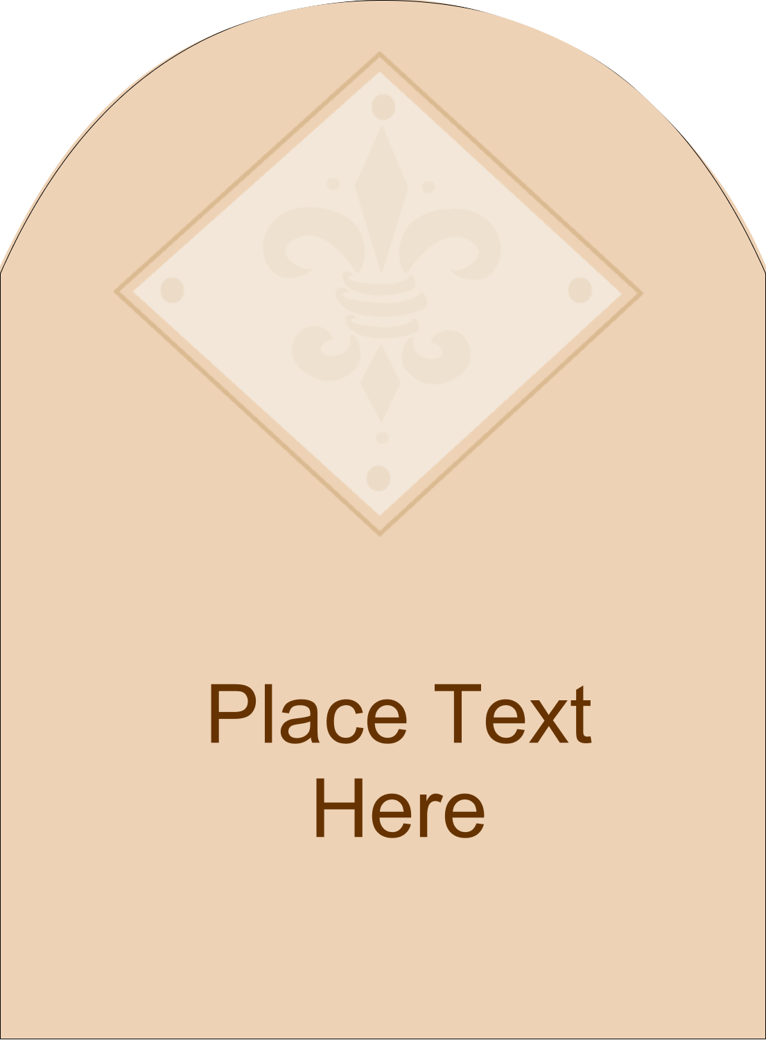 "4¾"" x 3½"" Arched Label - Beige Diamond"