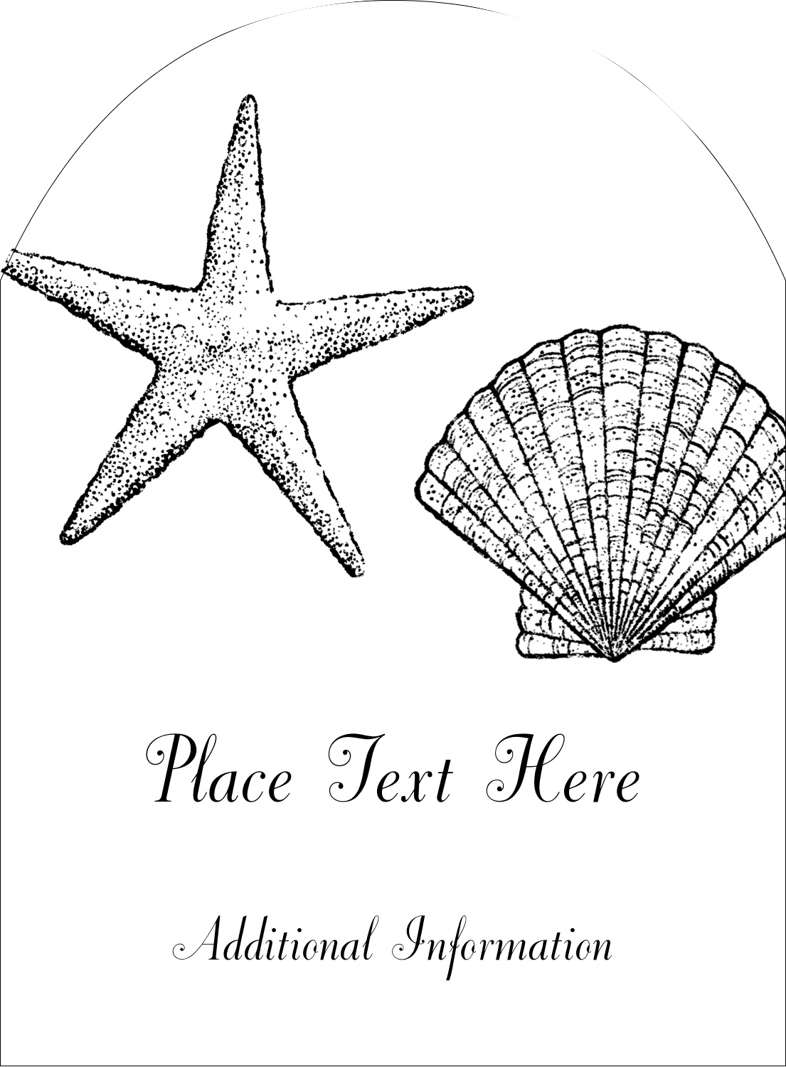 "4¾"" x 3½"" Arched Label - Beach"