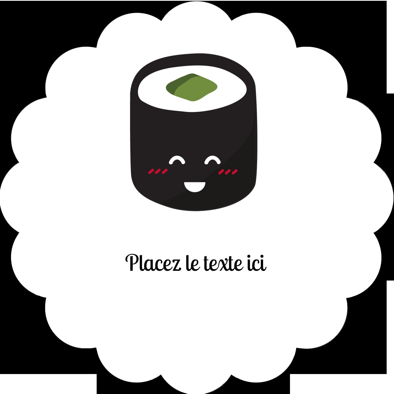 """2"""" Diameter Étiquettes festonnées - Émoticônes de sushis"""